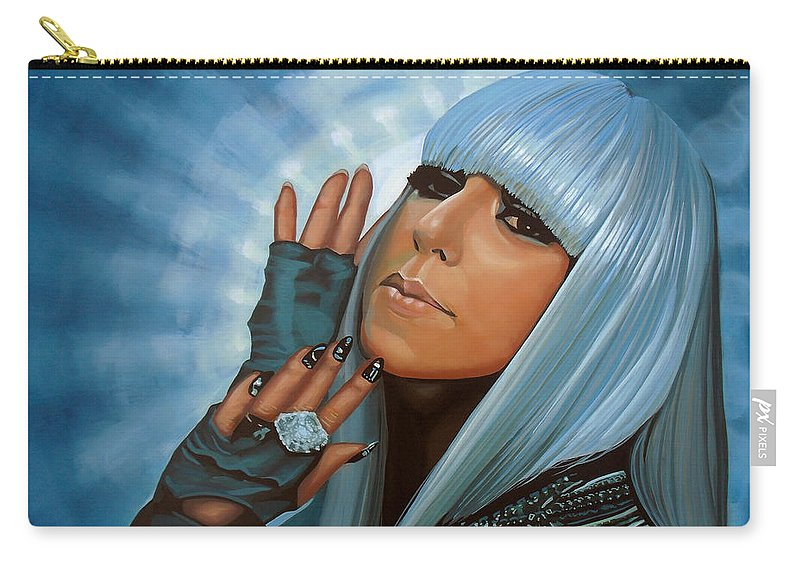 Lady Gaga Carry-all Pouch featuring the painting Lady Gaga Painting by Paul Meijering