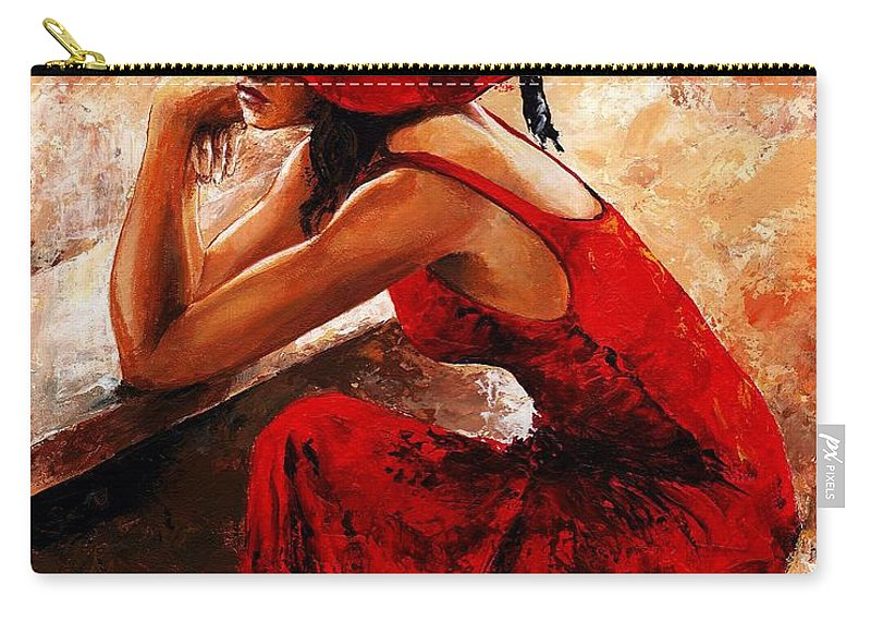 Lady Carry-all Pouch featuring the painting Lady In Red 21 by Emerico Imre Toth