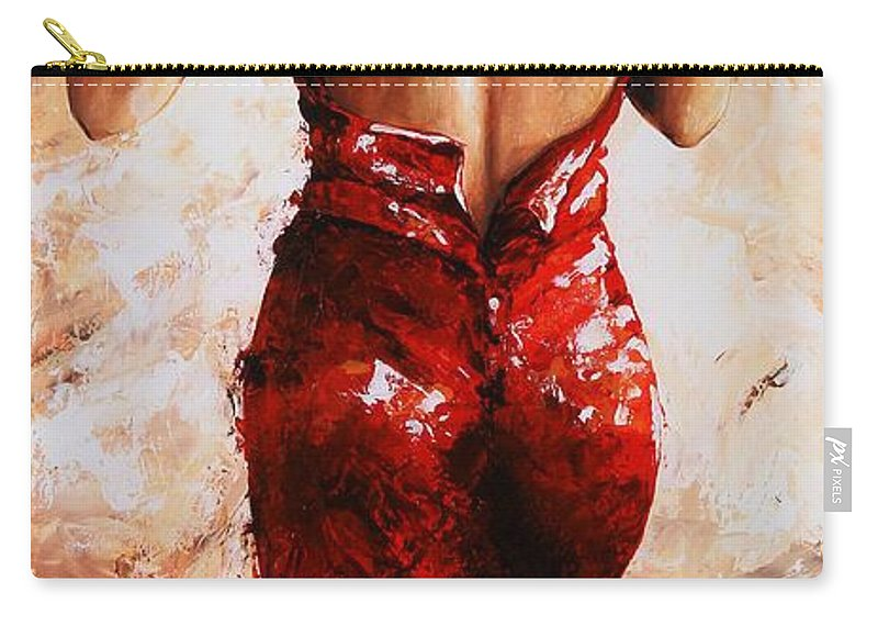 Nude Carry-all Pouch featuring the painting Lady In Red #24 Large by Emerico Imre Toth