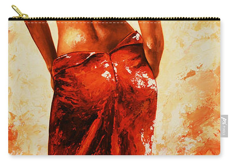 Nude Carry-all Pouch featuring the painting Lady In Red 27re Large by Emerico Imre Toth