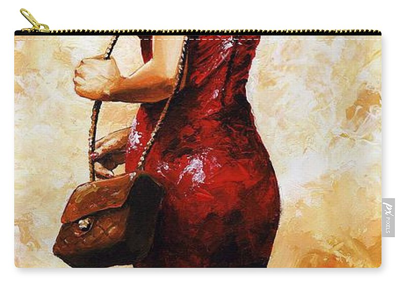 Lady Carry-all Pouch featuring the painting Lady In Red 30 by Emerico Imre Toth