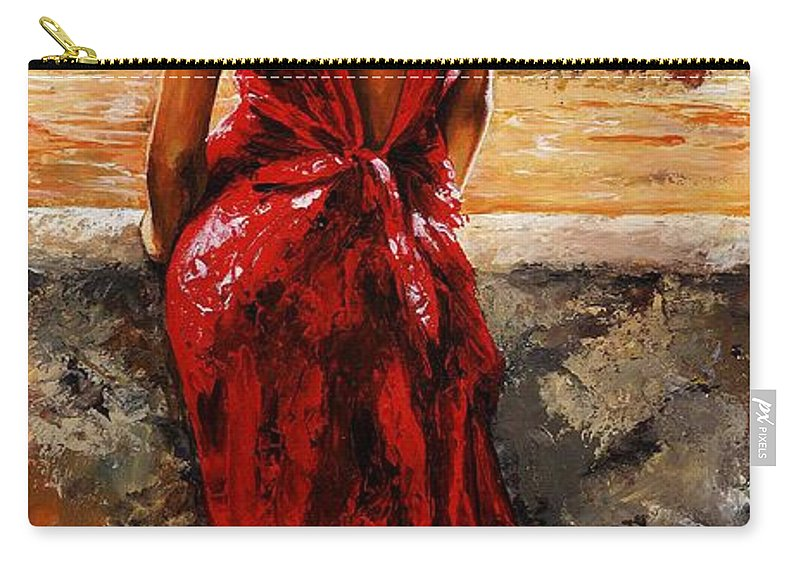Lady Carry-all Pouch featuring the painting Lady In Red 34 - I Love Budapest by Emerico Imre Toth
