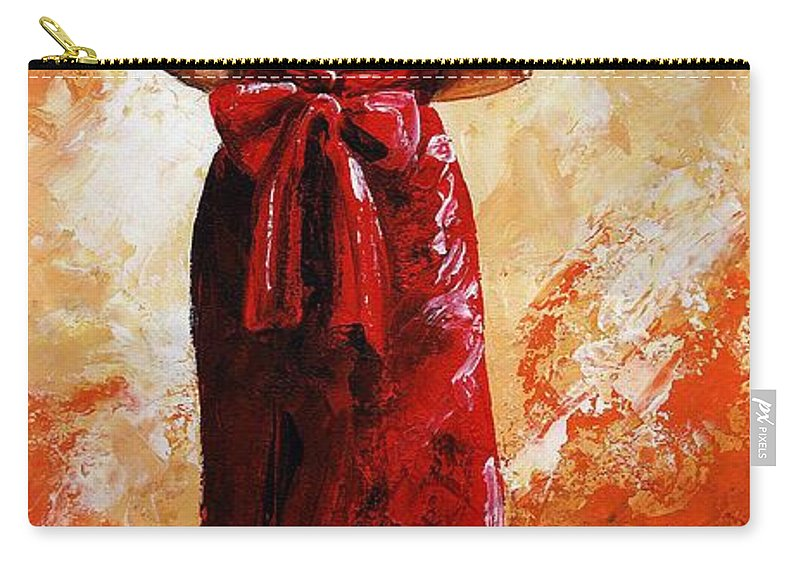 Lady Carry-all Pouch featuring the painting Lady In Red 39 by Emerico Imre Toth
