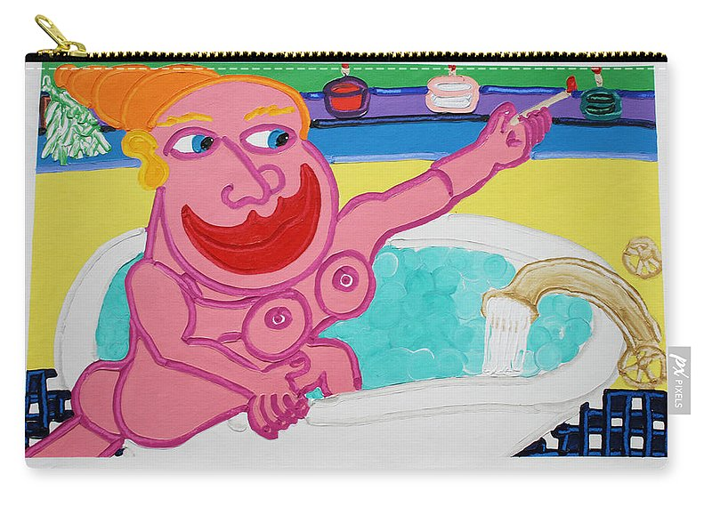 Bath Carry-all Pouch featuring the painting Lady In The Tub by Matthew Brzostoski
