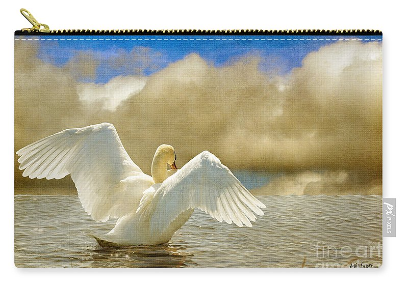 Swans Carry-all Pouch featuring the photograph Lady-in-waiting by Lois Bryan