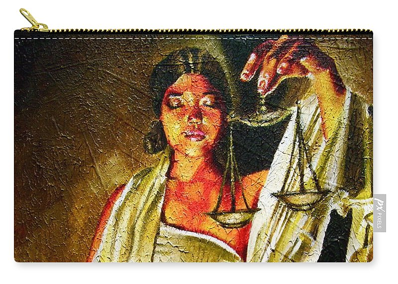 Law Art Carry-all Pouch featuring the painting Lady Justice Sepia by Laura Pierre-Louis