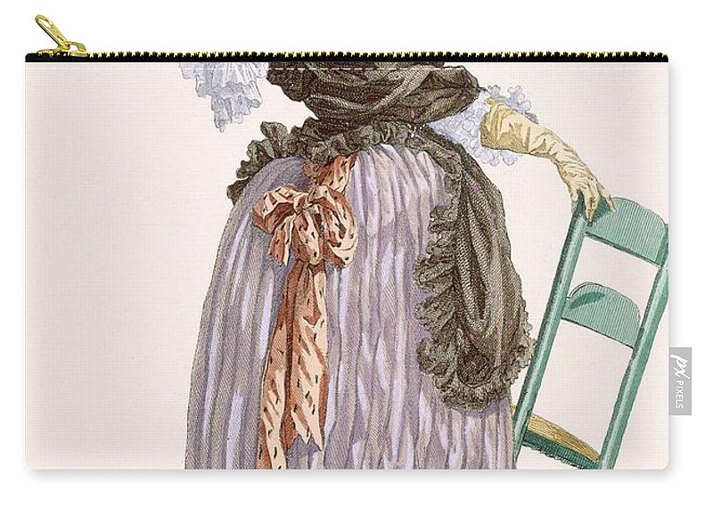 Clothing Carry-all Pouch featuring the drawing Lady Leaning On Chair, Engraved by Francois Louis Joseph Watteau