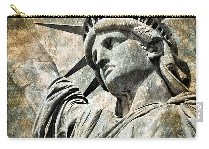 Statue Of Liberty Carry-all Pouch featuring the photograph Lady Liberty Vintage by Delphimages Photo Creations