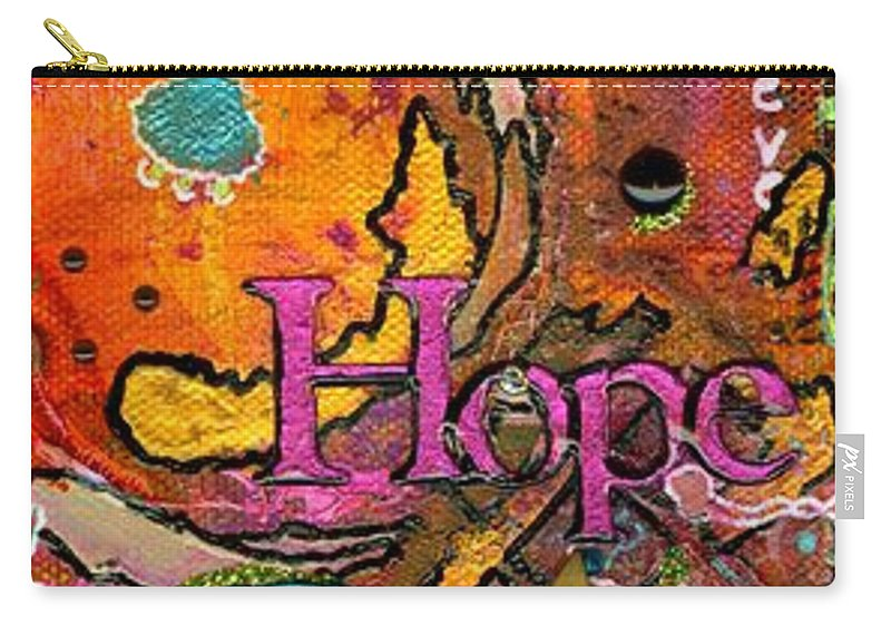 Acrylic Carry-all Pouch featuring the mixed media Lady Of Hope - A Breast Cancer Donation by Angela L Walker