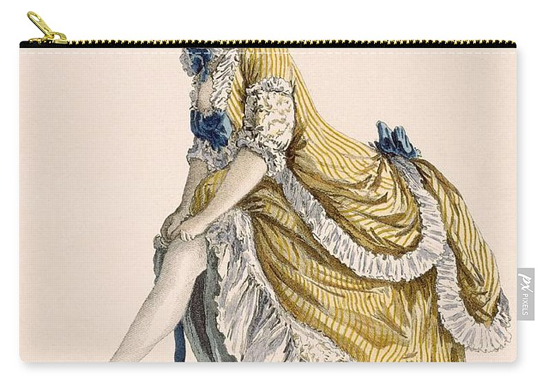 Clothing Carry-all Pouch featuring the drawing Lady Pulling Up Her Stocking, Engraved by Pierre Thomas Le Clerc