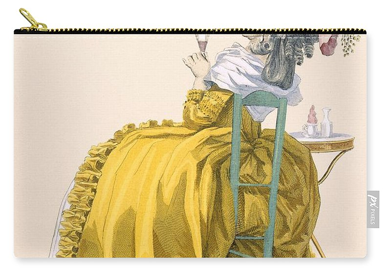 Clothing Carry-all Pouch featuring the drawing Lady Reclines On Chair Drinking by Francois Louis Joseph Watteau