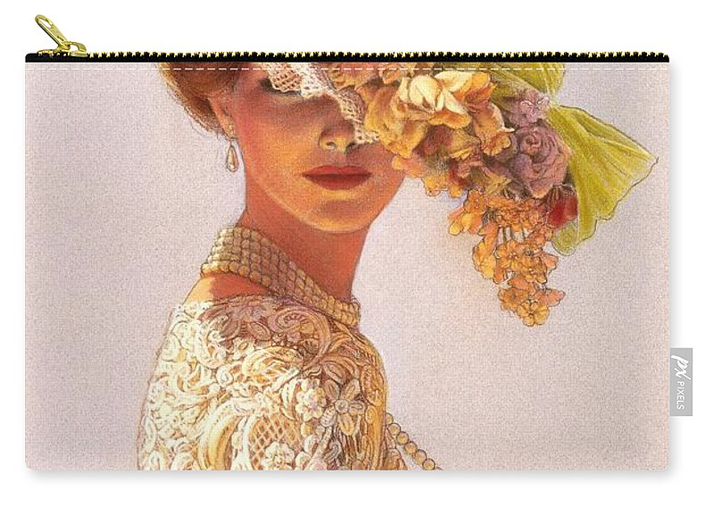 Portrait Carry-all Pouch featuring the painting Lady Victoria Victorian Elegance by Sue Halstenberg