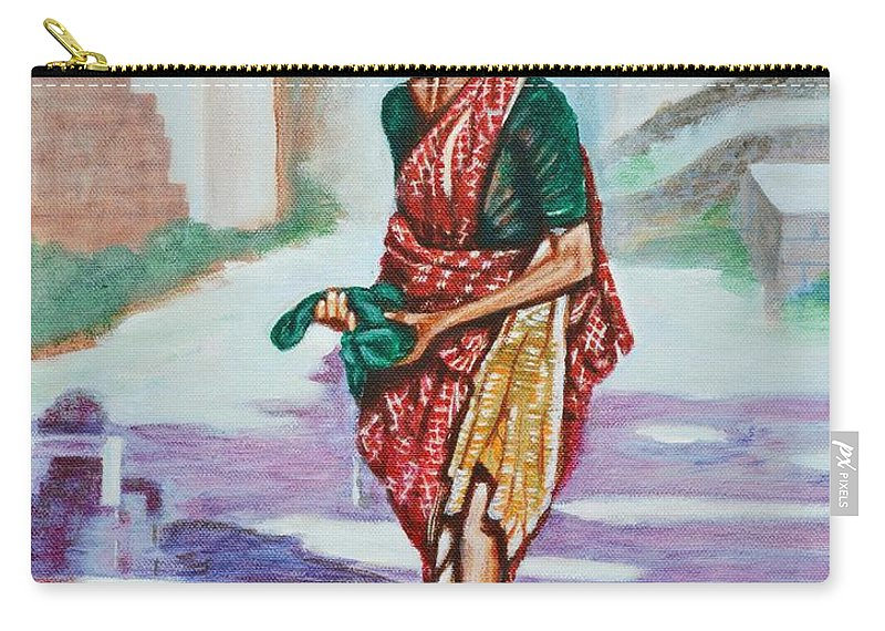 Lady Carry-all Pouch featuring the painting Lady Washing Clothes by Usha Shantharam