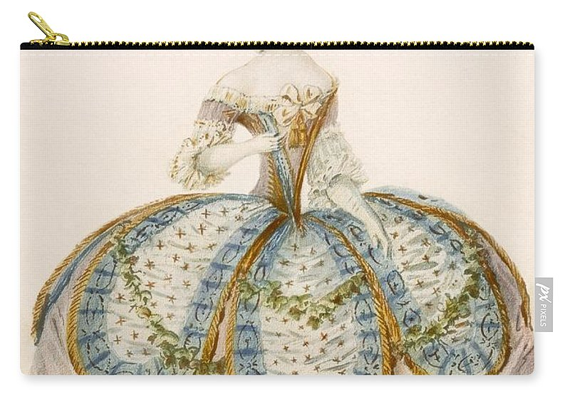 Clothing Carry-all Pouch featuring the drawing Lady Wearing Dress For A Royal by French School