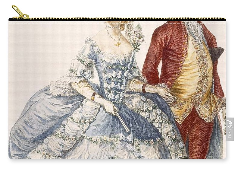 Clothing Carry-all Pouch featuring the drawing Lady With Her Husband Attending A Court by Pierre Thomas Le Clerc