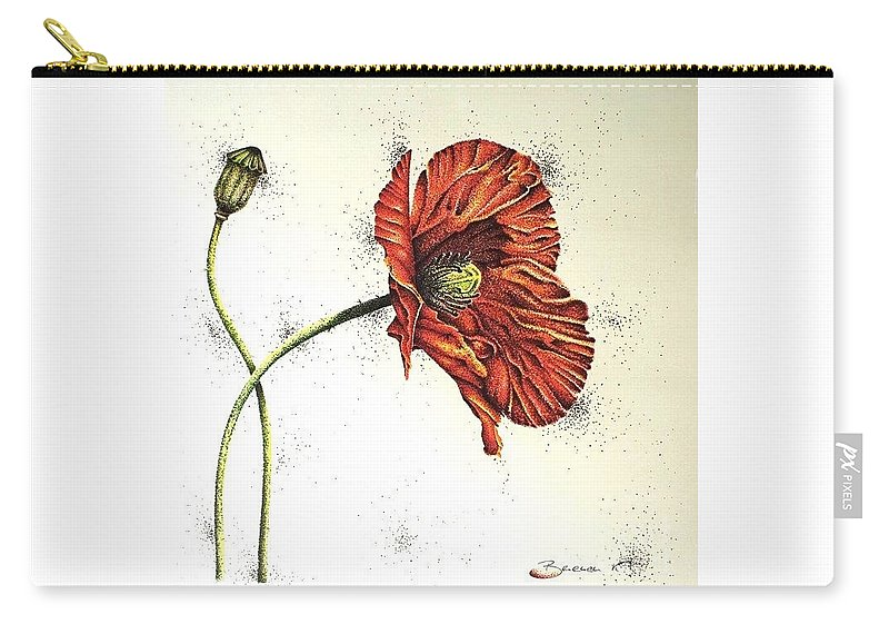 Poppies Carry-all Pouch featuring the drawing Lady Yee by Katharina Filus