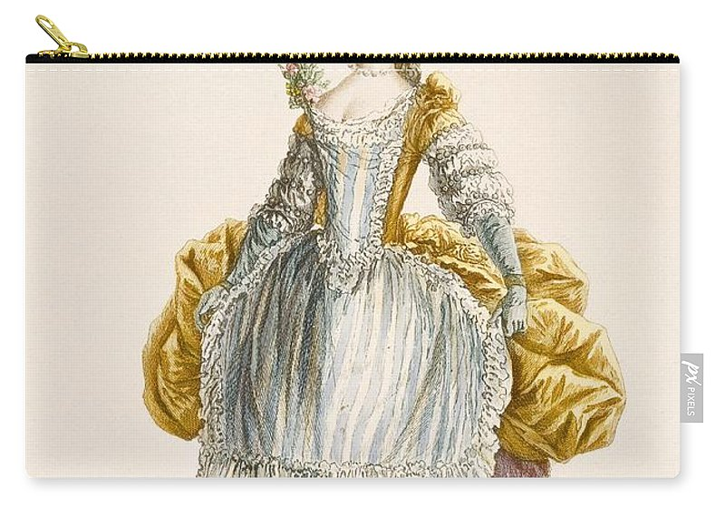 Clothing Carry-all Pouch featuring the drawing Ladys Ball Gown, Engraved By Dupin by Pierre Thomas Le Clerc