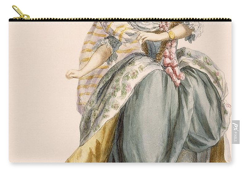 Clothing Carry-all Pouch featuring the drawing Ladys Costume Based On The Opera La by Francois Louis Joseph Watteau