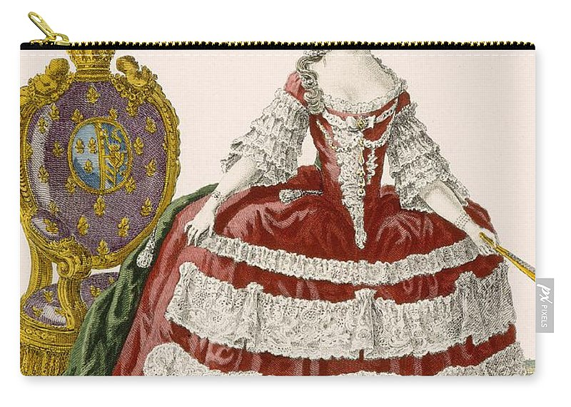 Clothing Carry-all Pouch featuring the drawing Ladys Court Gown In Dark Cherry by Pierre Thomas Le Clerc
