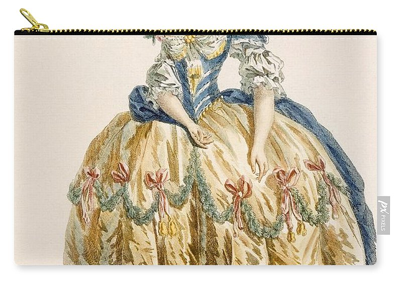 Clothing Carry-all Pouch featuring the drawing Ladys Elaborate Ball Gown, Engraved by Augustin de Saint-Aubin