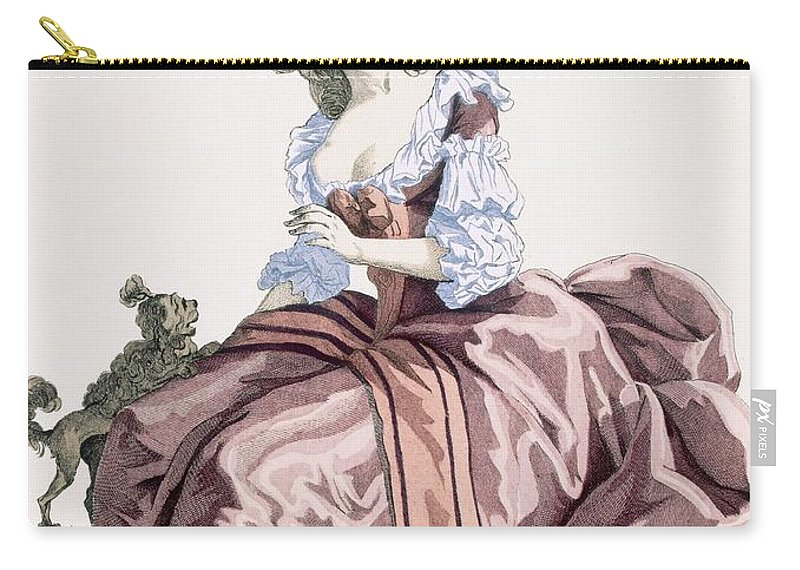 Clothing Carry-all Pouch featuring the drawing Ladys Elegant Caramel Coloured Satin by Francois Louis Joseph Watteau