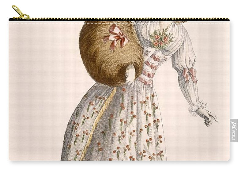 Carry-all Pouch featuring the drawing Ladys Gown Embroidered With Small by Jean Florent Defraine