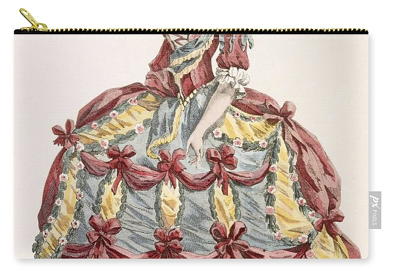 Clothing Carry-all Pouch featuring the drawing Ladys Gown For Cour A Leiquette by Augustin de Saint-Aubin