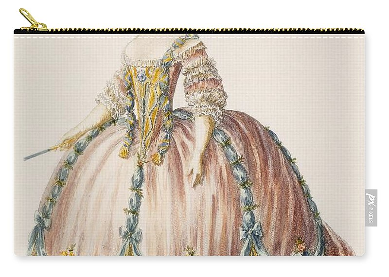 Clothing Carry-all Pouch featuring the photograph Ladys Gown For The Royal Court by Claude Louis Desrais
