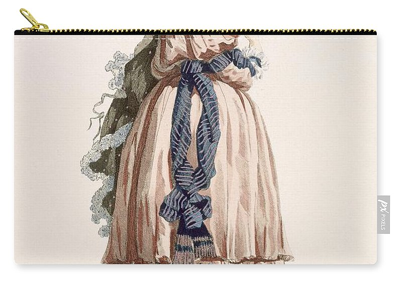 Carry-all Pouch featuring the drawing Ladys Summer Walking Gown, Engraved by Francois Louis Joseph Watteau