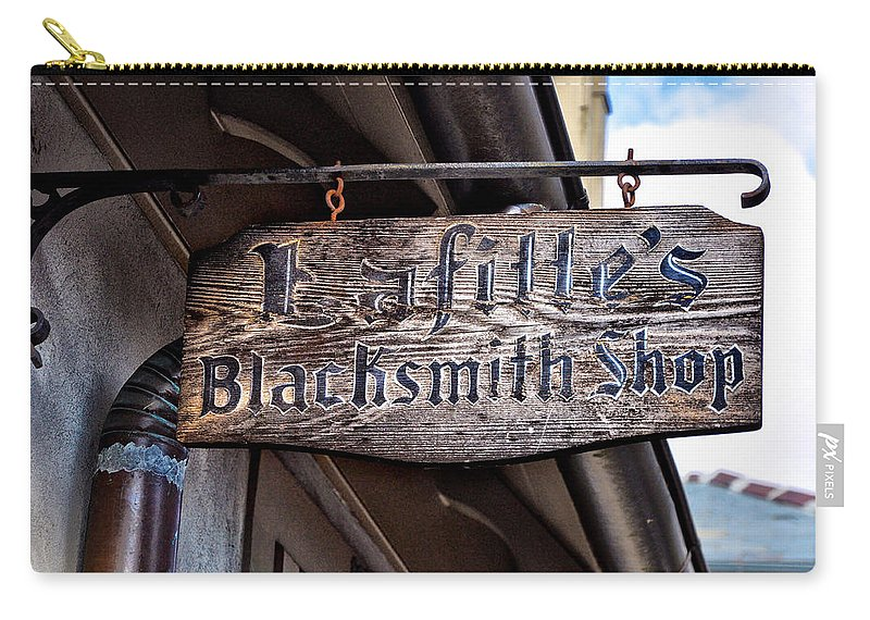 Lafittes Carry-all Pouch featuring the photograph Lafittes Blacksmith Shop Sign by Bill Cannon