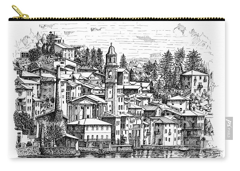 Carry-all Pouch featuring the drawing Lago Di Como-brienno by Franko Brkac
