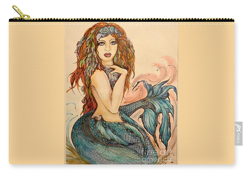 Pen And Ink Carry-all Pouch featuring the painting Laguna Blue by Valarie Pacheco