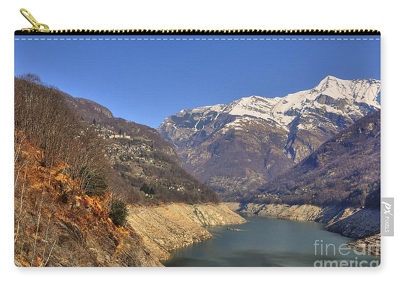 Lake Carry-all Pouch featuring the photograph Lake And Snow-capped Mountain by Mats Silvan