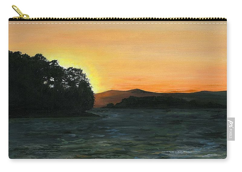 Landscape Carry-all Pouch featuring the painting Lake Champlain Adirondack Mountains Vt/ny by Judith Rice