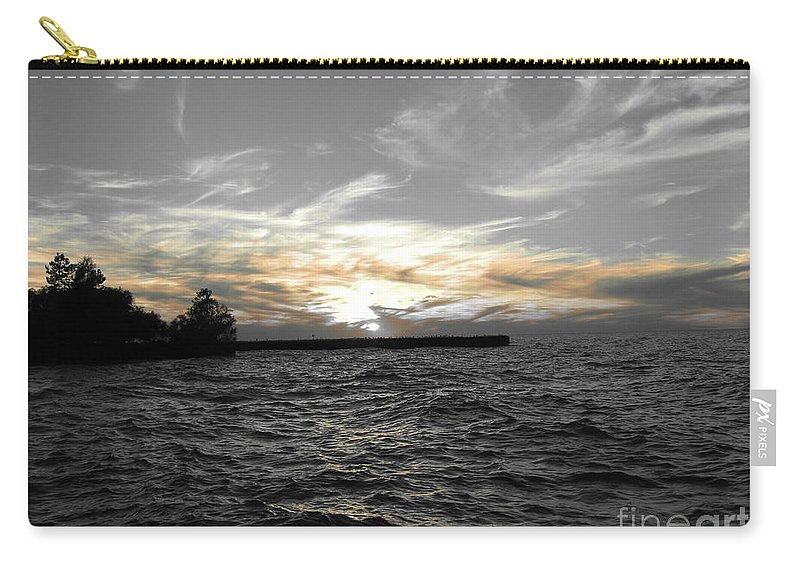 Lake Erie Carry-all Pouch featuring the photograph Lake Erie Lights by Michael Krek