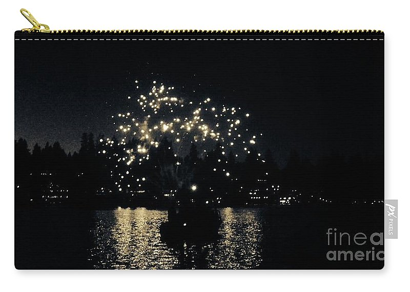 4th Of July Fireworks Carry-all Pouch featuring the photograph Lake Fireworks by Susan Garren