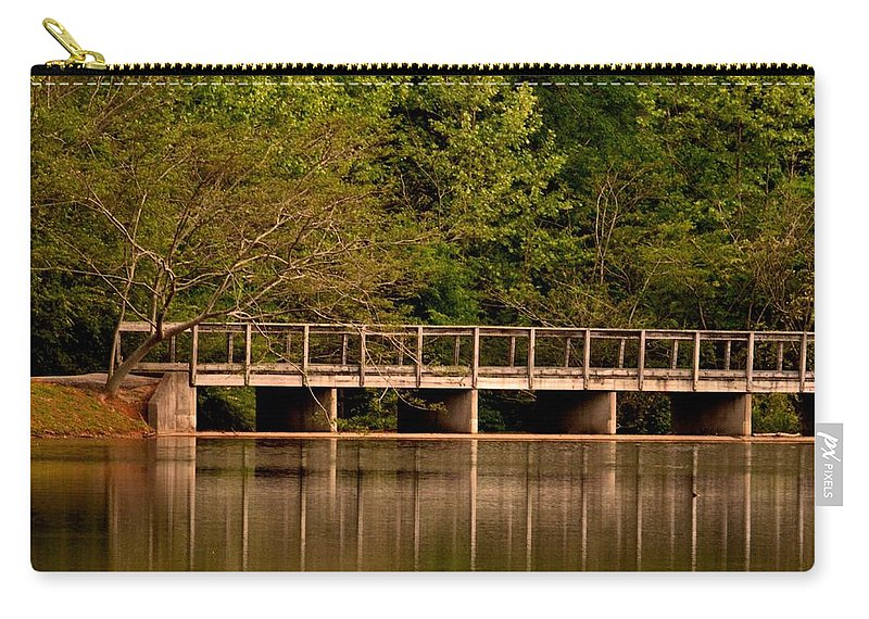 Lake Forest Bridge Carry-all Pouch featuring the photograph Lake Forest Bridge by Maria Urso