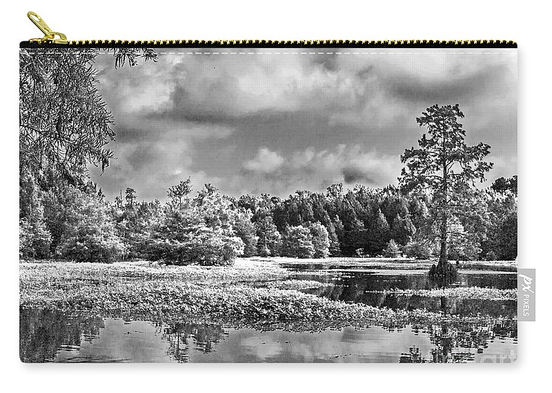 Vernon Lake Carry-all Pouch featuring the photograph Lake In Black And White Two by Ken Frischkorn