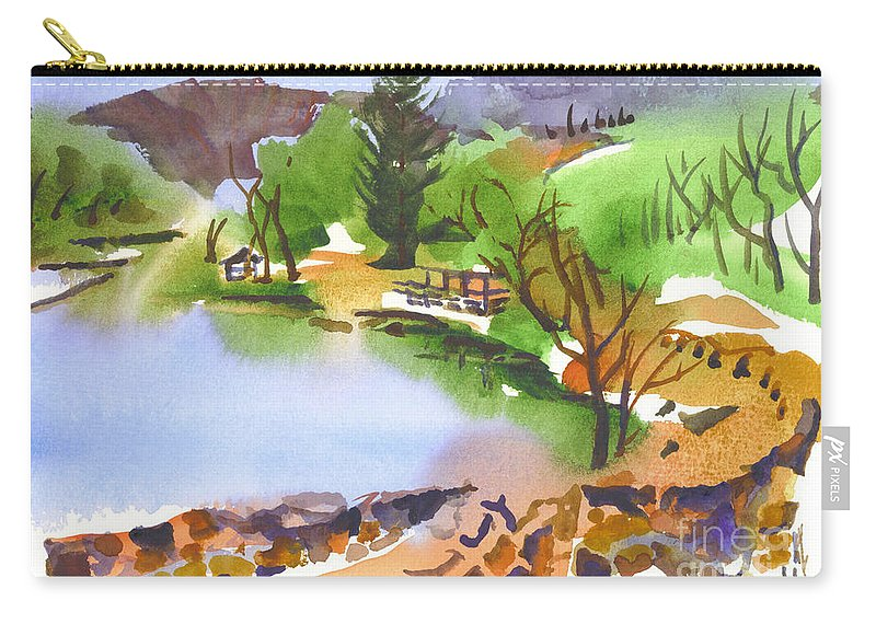 Lake Killarney With Rock Wall Carry-all Pouch featuring the painting Lake Killarney With Rock Wall by Kip DeVore