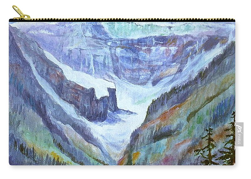 Lake Louise Carry-all Pouch featuring the painting Lake Louise Poppies by Virginia Ann Hemingson