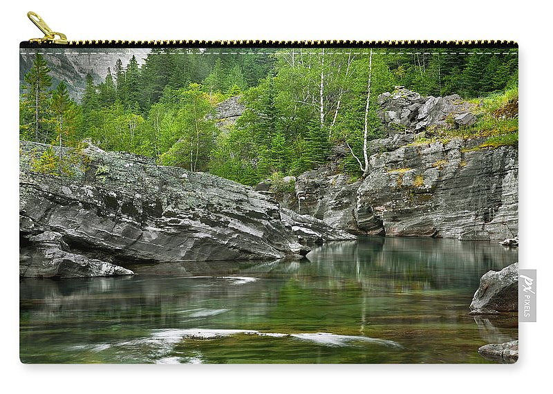 Glacier National Park Carry-all Pouch featuring the photograph Lake Mcdonald Falls River Glacier National Park by Rich Franco