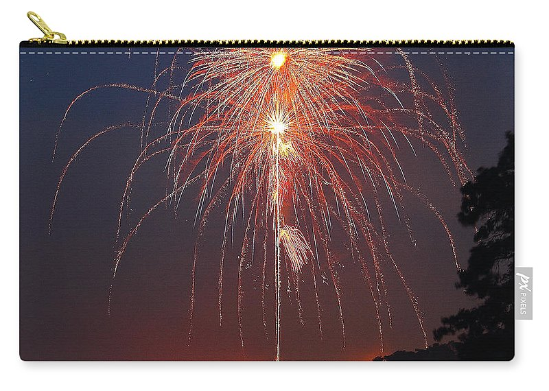 Fireworks Carry-all Pouch featuring the photograph Lake Of Fire by Ken Kobe