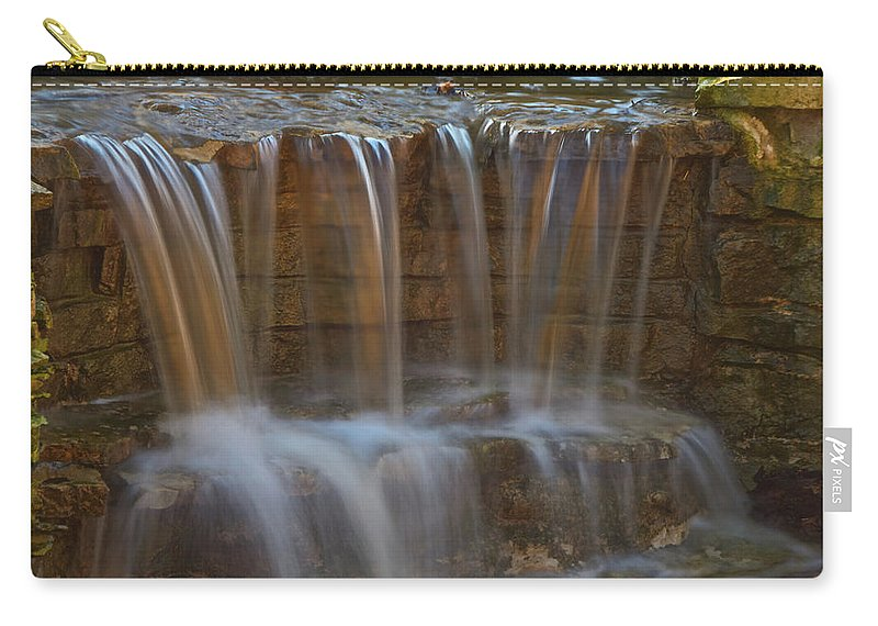 Waterfall Canvas Prints Carry-all Pouch featuring the photograph Lake Park Waterfall by Jonah Anderson