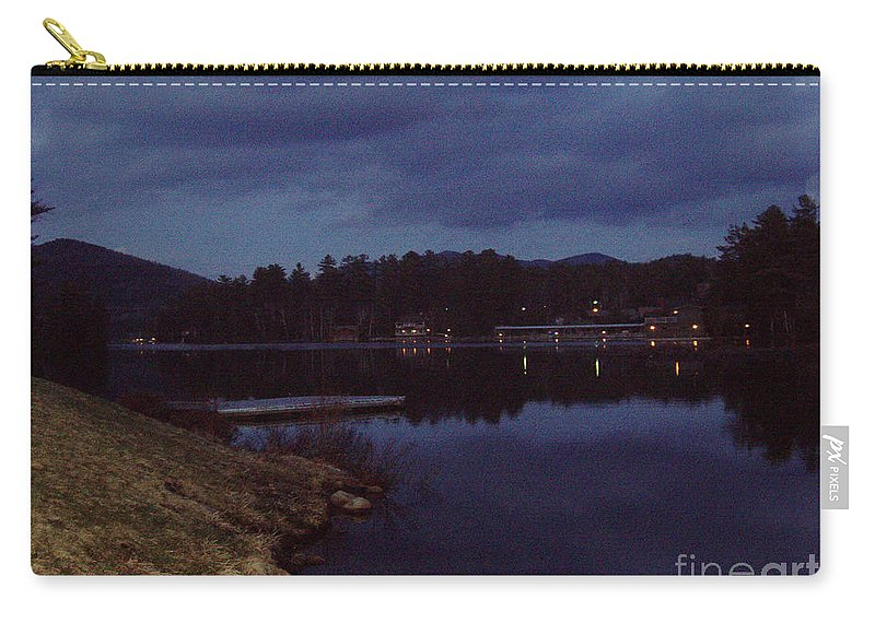 Lake Placid At Night Carry-all Pouch featuring the photograph Lake Placid At Night by John Telfer