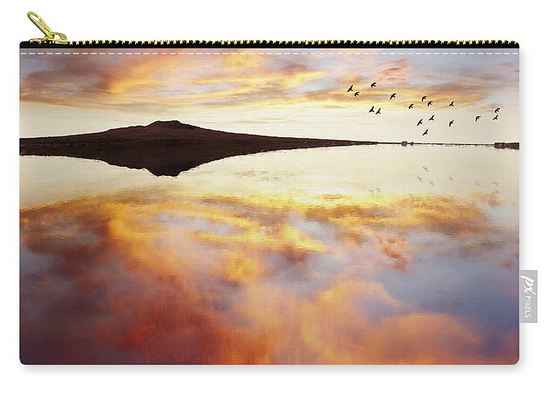 Nobody Carry-all Pouch featuring the photograph Lake Reflections by Les Cunliffe