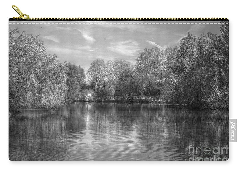 Photo Carry-all Pouch featuring the photograph Lake Reflections Mono by Jeremy Hayden