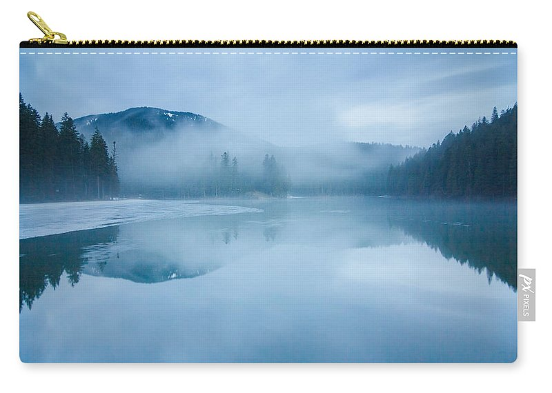 Scenics Carry-all Pouch featuring the photograph Lake Surrounded By Mountains And Forest by Verybigalex