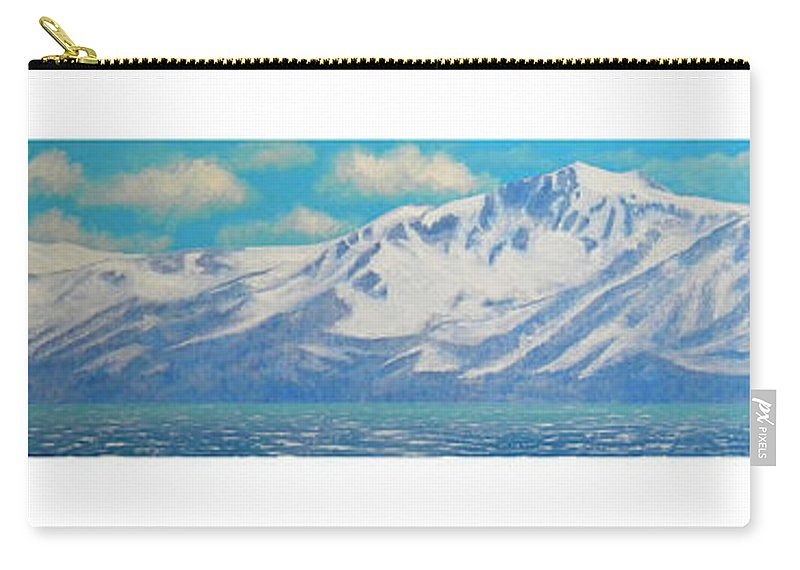 Lake Tahoe Carry-all Pouch featuring the painting Lake Tahoe After The Storm Triptych by Frank Wilson