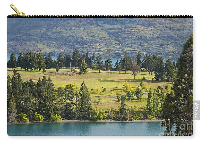 Queenstown New Zealand Lake Wakatipu Lakes Water Mountain Mountains Golf Club Course Courses Tree Trees Landscape Landscapes Waterscape Waterscapes Carry-all Pouch featuring the photograph Lake Wakatipu And Queenstown Golf Course by Bob Phillips