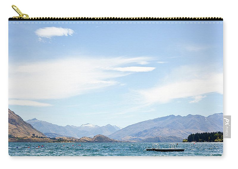 Scenics Carry-all Pouch featuring the photograph Lake Wanaka Diving Platform by Phillip Suddick